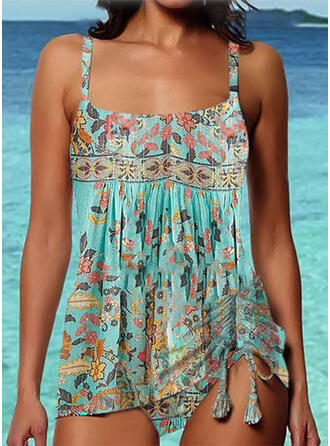 Floral Print Strap Sexy Vintage Tankinis Swimsuits
