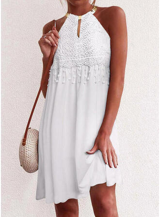 Lace/Solid/Tassel Sleeveless Shift Knee Length Casual Dresses