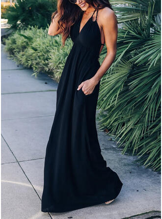 Solid/Backless Sleeveless A-line Slip/Skater Little Black/Sexy/Vacation Maxi Dresses