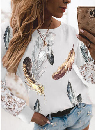 Print Feather Lace Round Neck Long Sleeves T-shirts
