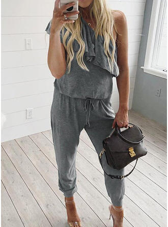 Solid Ruffles One Shoulder Short Sleeves Casual Sexy Jumpsuit