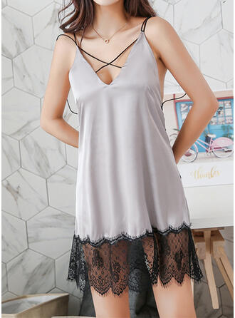 Polyester Lace Sexy Backless Alluring Slip Robe