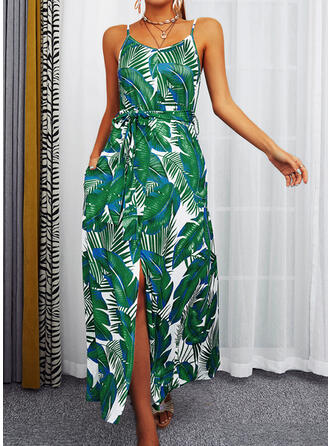 Print/Floral/Backless Sleeveless A-line Slip/Skater Casual/Vacation Maxi Dresses