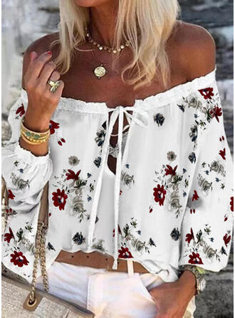 Print Floral Lace-up Off the Shoulder Long Sleeves Casual Blouses
