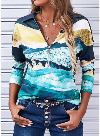 Print Lapel Long Sleeves Dropped Shoulder Casual Blouses