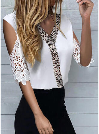 Lace Leopard Cold Shoulder 1/2 Sleeves Casual Blouses