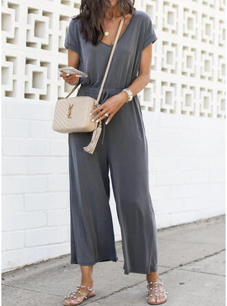Solid V-Neck Short Sleeves Casual Vacation Jumpsuit