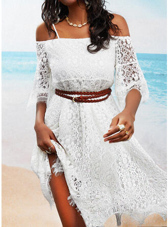 Lace/Solid/Backless 3/4 Sleeves A-line Above Knee Casual Skater Dresses