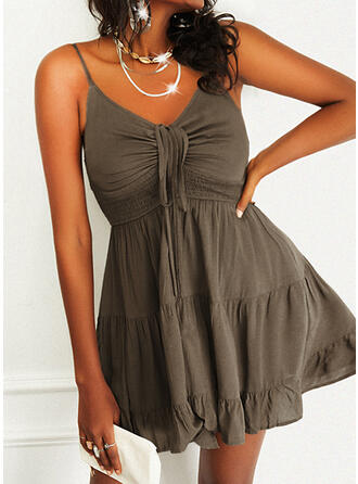 Solid Sleeveless A-line Above Knee Casual Slip/Skater Dresses