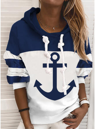 Print Color Block Long Sleeves Hoodie