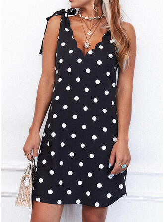 PolkaDot Sleeveless Shift Above Knee Casual Tank Dresses