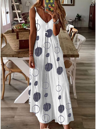 Print Sleeveless Shift Slip Casual Maxi Dresses
