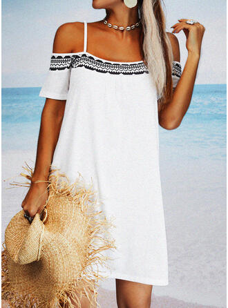 Print Sleeveless Shift Above Knee Casual/Vacation Tunic Dresses