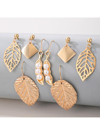 Attractive Charming Artistic Delicate Alloy With Leaf Women's Ladies' Earrings 4 PCS