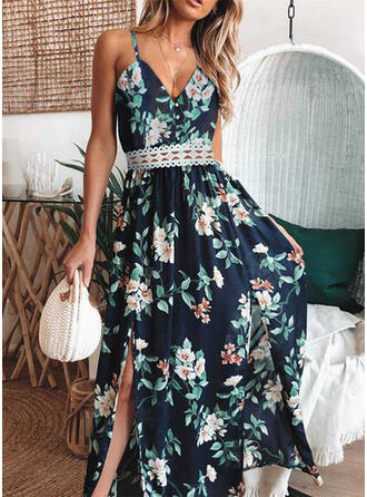 Print/Floral/Hollow-out Sleeveless A-line Slip/Skater Casual/Vacation Maxi Dresses