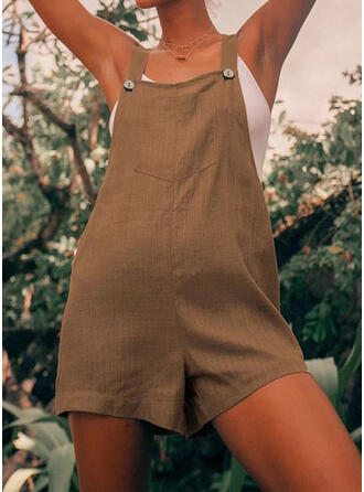 Solid Strap Sleeveless Casual Vintage Romper