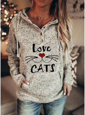Print Figure Heart Pockets Long Sleeves Hoodie