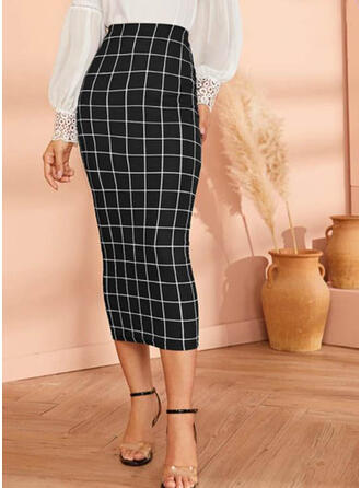 Cotton Plaid Mid-Calf Pencil Skirts Bodycon Skirts