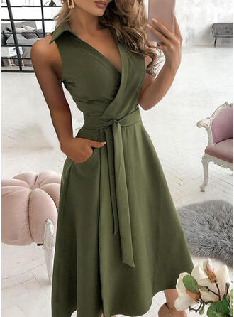 Solid Sleeveless A-line Wrap/Skater Casual Midi Dresses