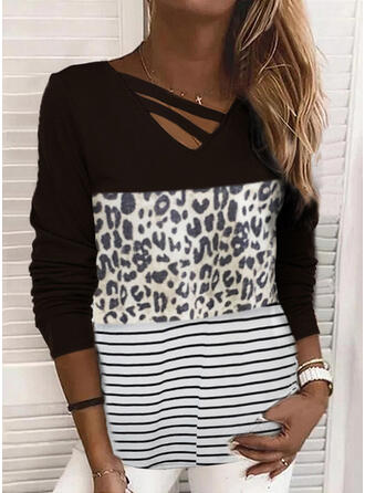 Color Block Leopard Striped Round Neck Long Sleeves T-shirts
