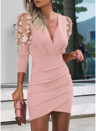 Solid 3/4 Sleeves/Puff Sleeves Bodycon Above Knee Party/Elegant Dresses